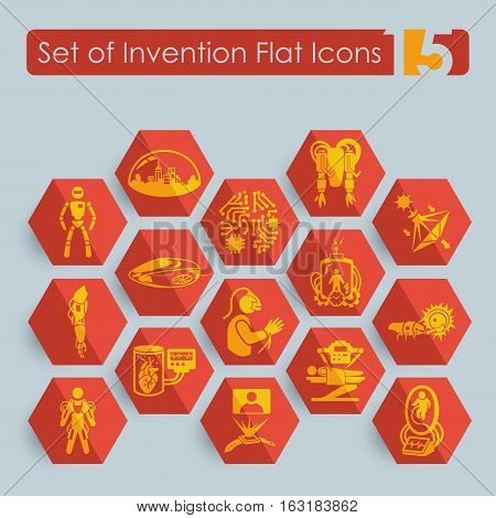 Set of invention flat icons for Web and Mobile Applications