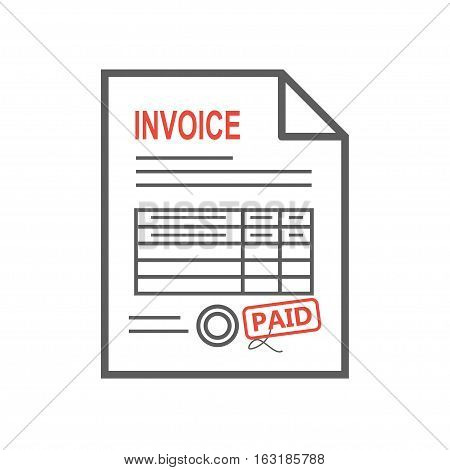 Invoice icon in the flat style, isolated from the background. Payment and billing invoices, business or financial operations sign. Vector icon invoice for services rendered. Thin line.