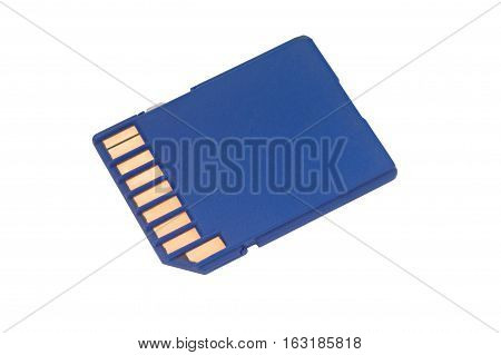 Blue sd card isolated on white background.
