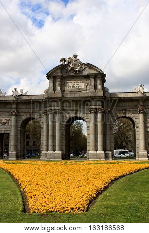 Puerta de Alcala, Neo-classical monument in the Plaza de la Independencia in Madrid, Spain