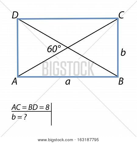 Geometric problem for finding the short side parallelograms. Equal to the diagonal of the rectangle and 8 intersect at an angle of 60 degrees. Find the smaller side of the rectangle.