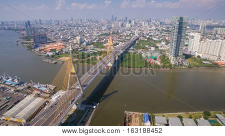 The Bhumibol Bridge Industrial Ring Road Bridge at day Bangkok Thailand