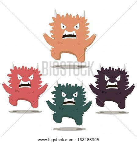 Set of Angry swearing monsters in a flat style. Colorful angry characters.