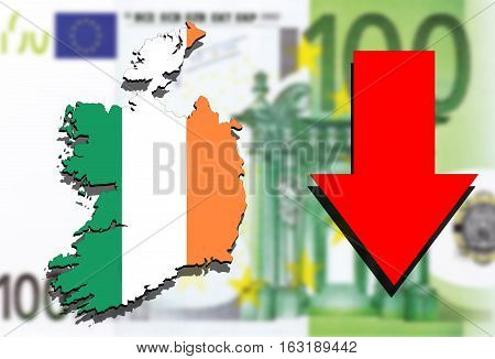 Ireland Map On Euro Money Background And Red Arrow Down