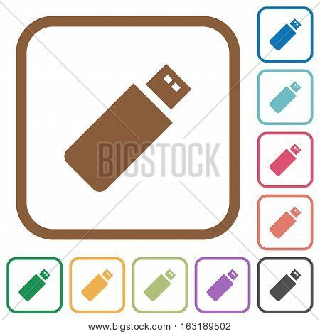 Pendrive simple icons in color rounded square frames on white background