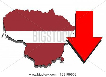 Lithuania Map On White Background And Red Arrow Down