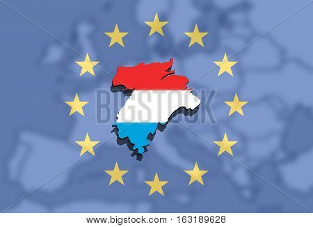 Close Up On Lithuania Map On Europe And Euro Union Background,