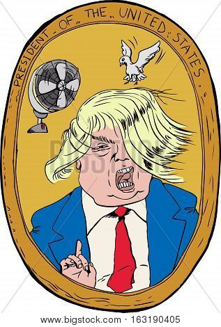 Dec. 27 2016. Caricature portrait of Donald Trump with hair blowing in wind and bird trying to land on it