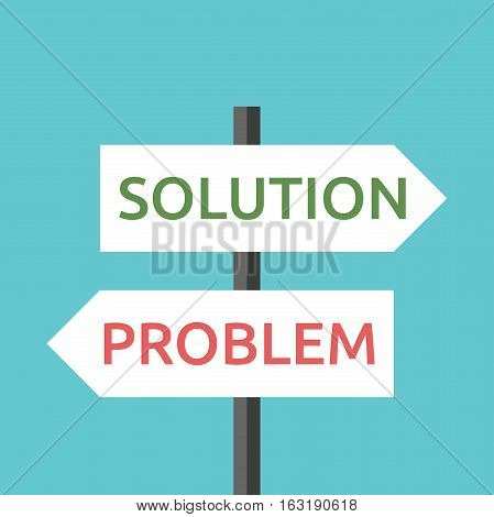 White solution and problem road signs with green and red text isolated on blue sky background. Choice, challenge and decision concept. Flat design. EPS 8 vector illustration, no transparency