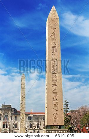 Nice view of Obelisk at hippodrome in Istanbul, Turkey