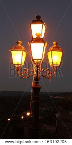 Street Lights in Monsanto Historic Village at Night, Monsanto Village, Portugal