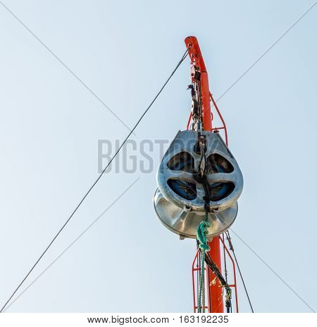 Close up of a pulley on a fisherboat