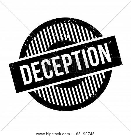 Deception rubber stamp. Grunge design with dust scratches. Effects can be easily removed for a clean, crisp look. Color is easily changed.