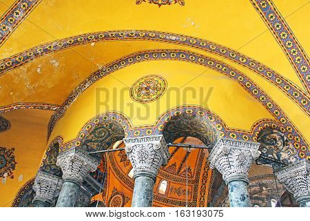 ISTANBUL, TYRKEY - MARCH 30 2013: Inside the Saint Sophia mosque in sultanahmet, Istanbul, Turkey