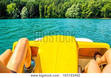 pedalo paddle boat lake watersport summer river