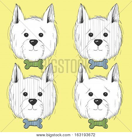 west highland white terrier scetch.Can be used like post card, background or banner