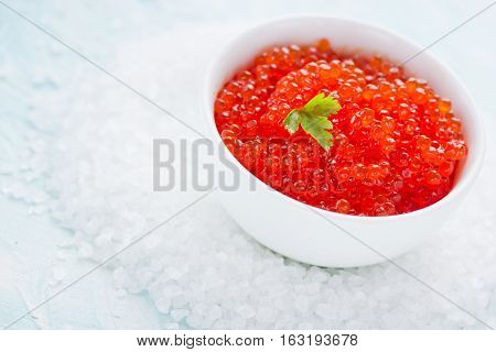 Red caviar - luxury food traditional russian appetizer. Red caviar in a white bowl close up