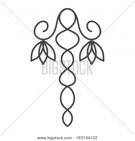 Hand drawn floral design element. Stem with flower schematic icon. Thin line with grey color. Isolated vector illustration.