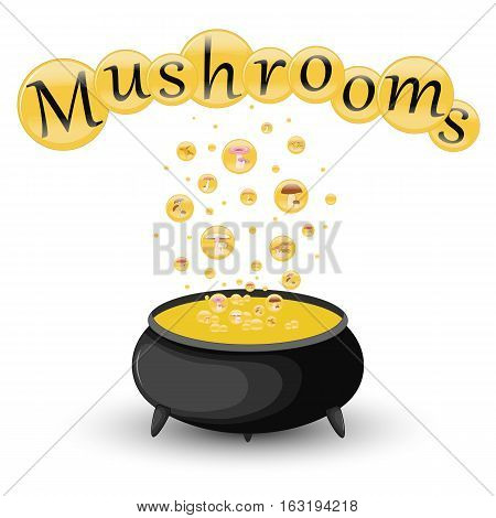 Pot Of Mushrooms In Bubbles On A White Background