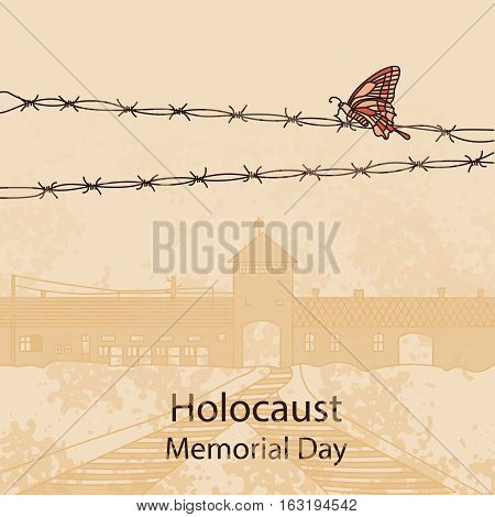 Holocaust Memorial Day. Entrance gate to Auschwitz Birkenau. Vector illustration. War II