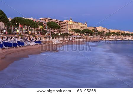 image shows the cosmopolitan city of Cannes in the French Riviera