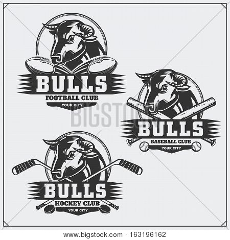 Football, baseball and hockey badges and labels. Sport club emblems with bull.