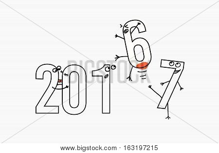2017 flat line design concept for greeting card and banner. Funny cartoon interpretation to the outgoing 2016. black and white vector illustration isolated on white background,