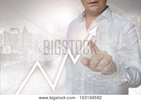Stock Market Touchscreen Is Operated By Man