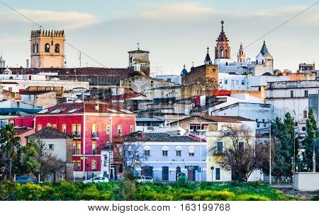 the old part of the Town Badajoz Extremadura Spain