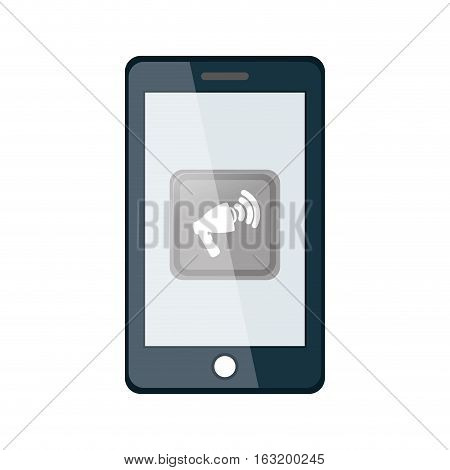 Smartphone with bullhorn icon vector illustration graphic design