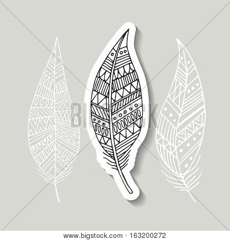 pattern with the image of bird feathers. Boho style. Beautiful hand drawn vector illustration feathers. Sketch feathers.