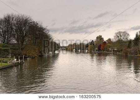 River Thames at Henley on Thames Oxfordshire England UK on a beautiful Autumn day