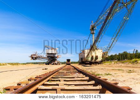 Railway in a career and multi bucket excavator, giant stacker, absetzer in career