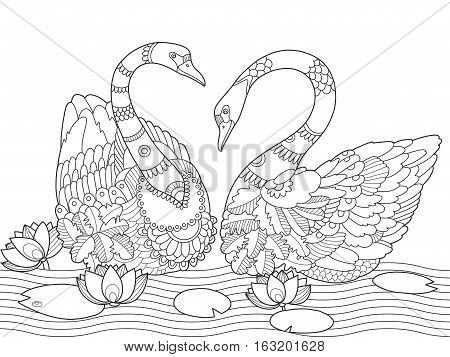 Swan coloring book for adults vector illustration. Anti-stress coloring for adult. Tattoo stencil. Zentangle style. Black and white lines. Lace pattern