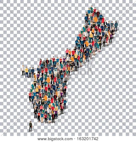 Isometric set of styles, people, map of Guam, country, web infographics concept of crowded space, flat 3d. Crowd point group forming a predetermined shape. Creative people. Vector illustration. Photo vector.3D illustration. Transparent background . Isolat
