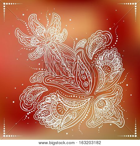 Delicate detailed white flower on blured red background