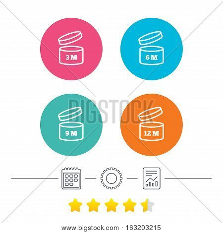 After opening use icons. Expiration date 6-12 months of product signs symbols. Shelf life of grocery item. Calendar, cogwheel and report linear icons. Star vote ranking. Vector