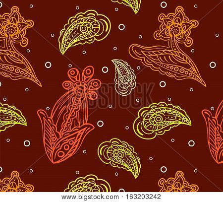Seamless pattern with multicolored detailed indian flowers on vinous background