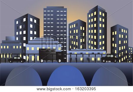 evening city Vector illustration it is maybe used for any professional project