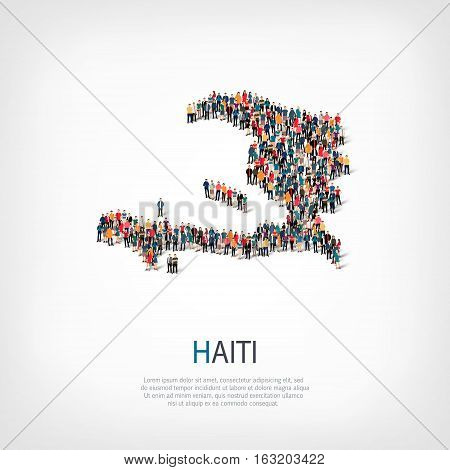 Isometric set of styles, people, map of Haiti, country, web infographics concept of crowded space, flat 3d. Crowd point group forming a predetermined shape. Creative people. Vector illustration. Photo vector.3D illustration. White background . Isolated.