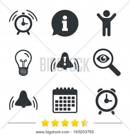Alarm clock icons. Wake up bell signs symbols. Exclamation mark. Information, light bulb and calendar icons. Investigate magnifier. Vector
