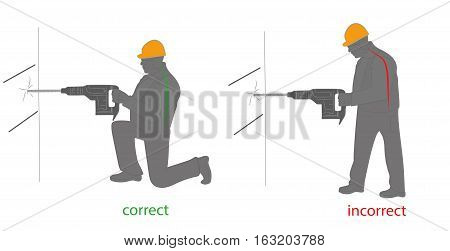 correct and incorrect posture for work with a drill (hammer). vector illustration.