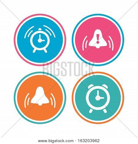 Alarm clock icons. Wake up bell signs symbols. Exclamation mark. Colored circle buttons. Vector