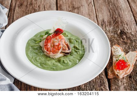 Food Cream Soup Broccoli Spinach Seafood Healthy Organic Mediterranean Cuisine Concept