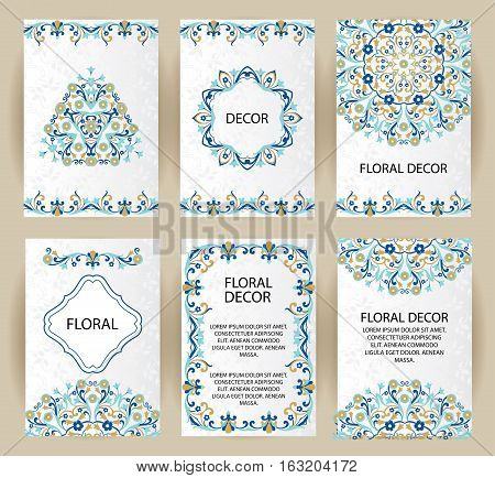 Vector set decorative frame. Elegant element for design template, place for text. Floral border. Lace decor for birthday and greeting card, wedding invitation.