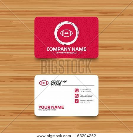 Business card template with texture. American football sign icon. Team sport game symbol. Phone, web and location icons. Visiting card  Vector