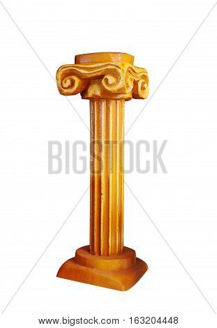 Gold Ionic columns in the Greek style, isolated on white background.