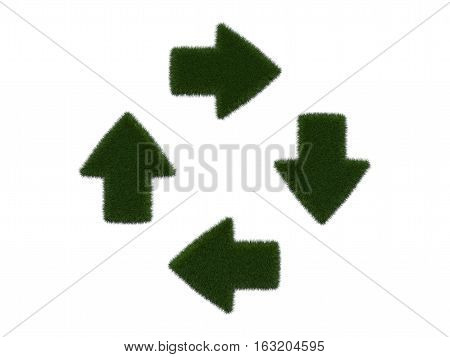 Grassy arrows on white background. Isolated digital illustration. 3d rendering