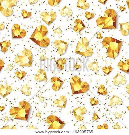 Vector Seamless White Glossy Background With 3D Gold Heart Diamonds, Gems, Jewels.