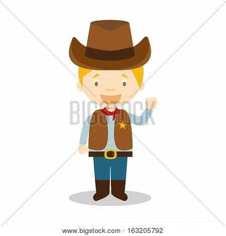 Cowboy character from USA dressed in the traditional way Vector Illustration. Kids of the World Collection.
